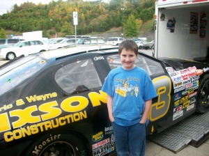James standing in front of one of the few race cars out this weekend
