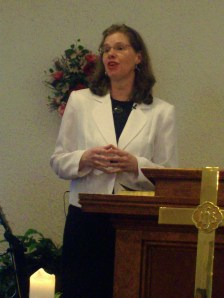 Pam preaching on Sunday